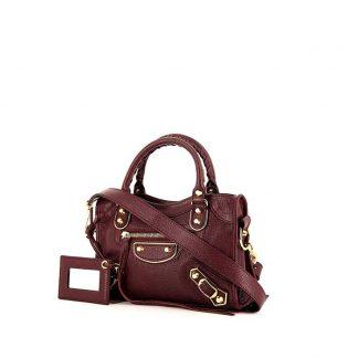 da2fc285c9d1 High Quality Balenciaga Replica Mini City shoulder bag in burgundy  burnished style leather