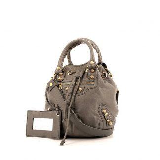 8efeaa2979ed Perfect Balenciaga Replica Pompon handbag in grey leather