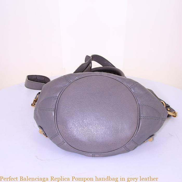 Perfect Balenciaga Replica Pompon handbag in grey leather – Best replica  handbags 767926f549866
