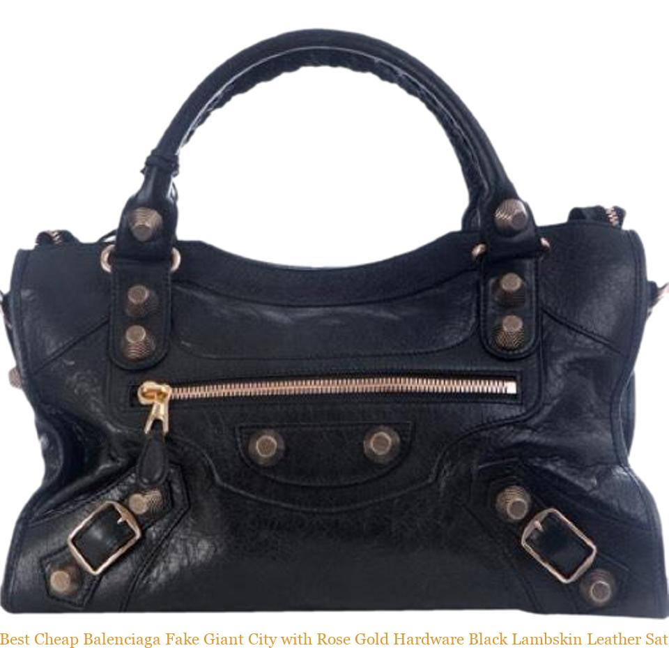 Best Balenciaga Fake Giant City With Rose Gold Hardware Black Lambskin Leather Satchel Replica Bag Pink