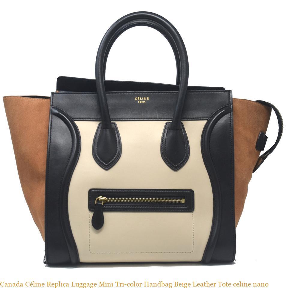 Canada Céline Replica Luggage Mini Tri-color Handbag Beige Leather Tote  celine nano 3d3f8f3b0e6de