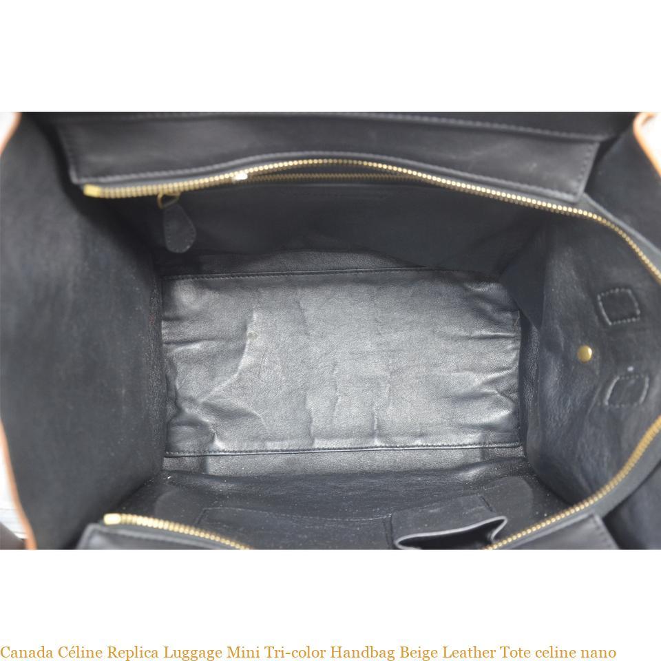 86255603b0cf Canada Céline Replica Luggage Mini Tri-color Handbag Beige Leather Tote  celine nano