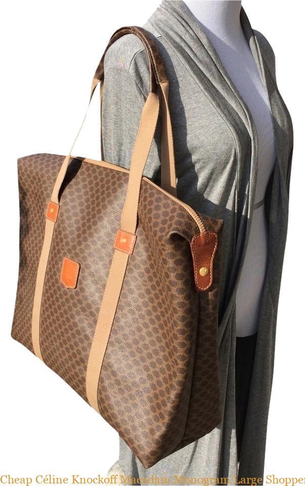 62ae74805ea Cheap Céline Knockoff Macadam Monogram Large Shopper Brown Leather Pvc Tote  celine box bag
