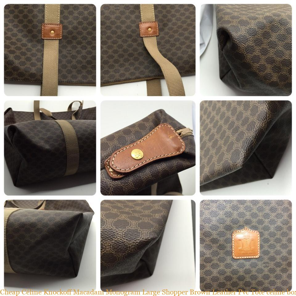Cheap Céline Knockoff Macadam Monogram Large Shopper Brown Leather Pvc Tote  celine box bag 4f8627c1b1022