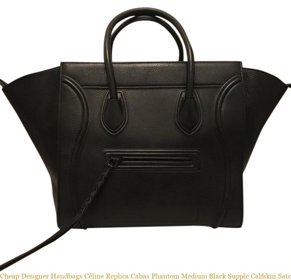 aa81eb6e3b Cheap Designer Handbags Céline Replica Cabas Phantom Medium Black Supple  Calfskin Satchel celine replica bag