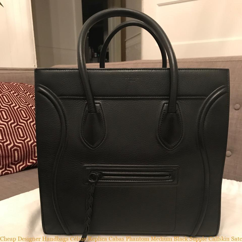 b7e55bb1ca Cheap Designer Handbags Céline Replica Cabas Phantom Medium Black Supple  Calfskin Satchel celine replica bag