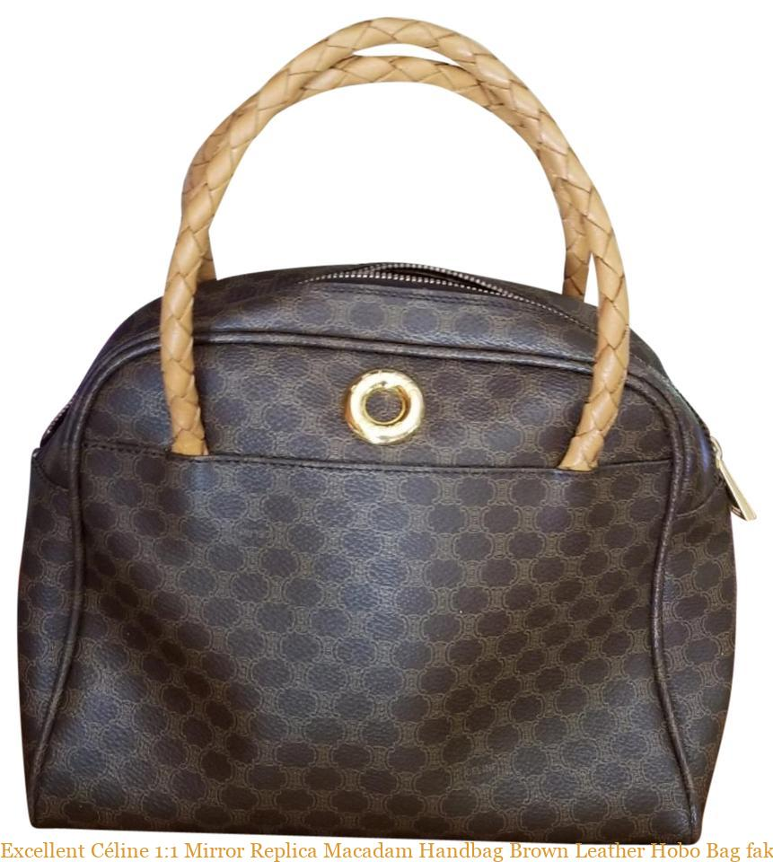 7eee376b3b36bd Excellent Céline 1:1 Mirror Replica Macadam Handbag Brown Leather Hobo Bag  fake designer bags china