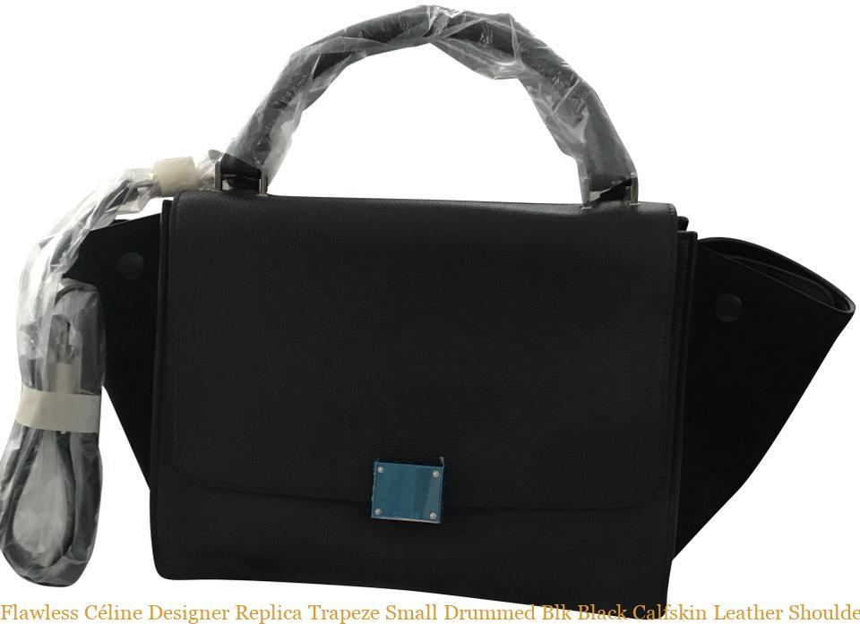 0dd0d581eb00 Flawless Céline Designer Replica Trapeze Small Drummed Blk Black Calfskin  Leather Shoulder Bag celine replica box