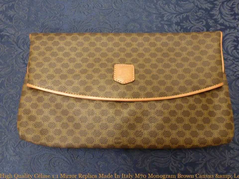 High Quality Céline 1 1 Mirror Replica Made In Italy M70 Monogram Brown  Canvas   Leather Clutch high quality designer replica handbags 497c96f59f004