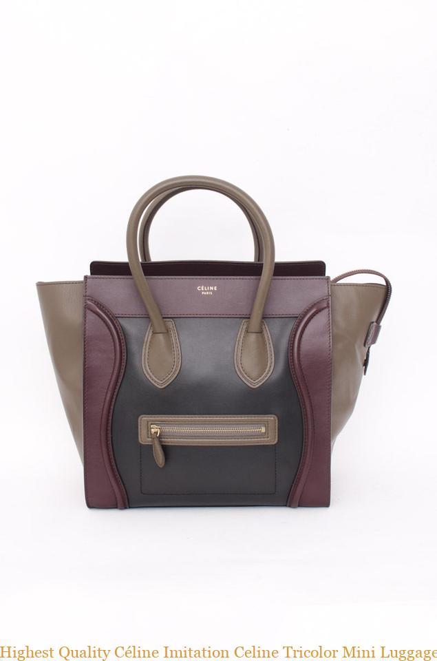 56fe6500fe Highest Quality Céline Imitation Celine Tricolor Mini Luggage Tote Black  Taupe Brown Maroon Leather Handbag celine replica