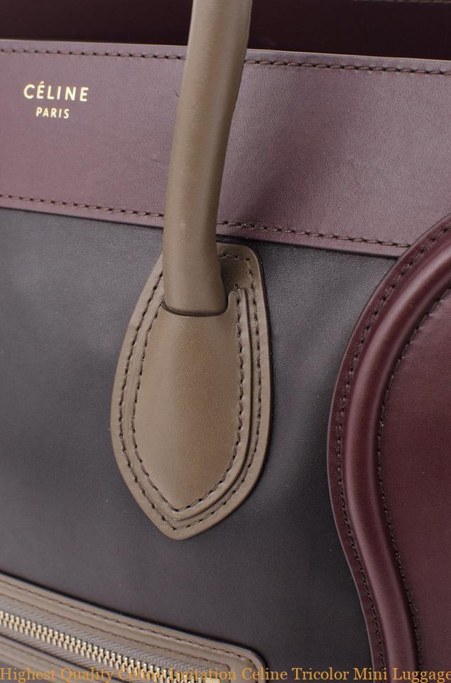 137670125b61 Highest Quality Céline Imitation Celine Tricolor Mini Luggage Tote Black  Taupe Brown Maroon Leather Handbag celine replica