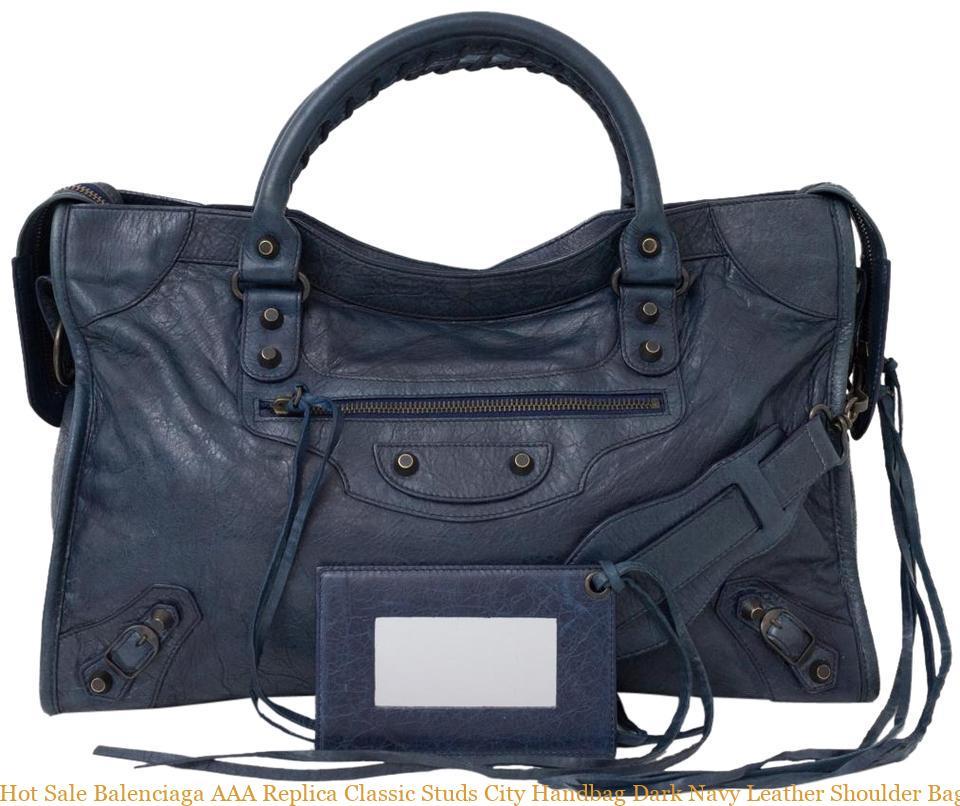 bca00c9d476 Hot Sale Balenciaga AAA Replica Classic Studs City Handbag Dark Navy  Leather Shoulder Bag balenciaga sneaker
