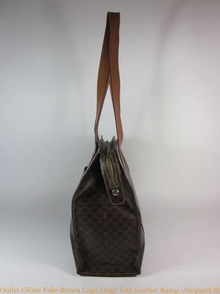 683dabaca Outlet Céline Fake Brown Logo Large Tote Leather & Jacquard Shoulder Bag  fake designer bags china