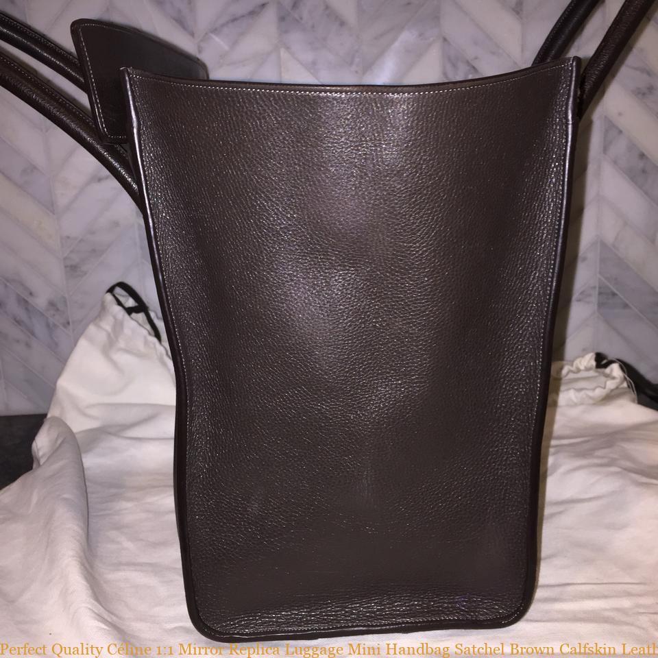 Perfect Quality Céline 1 1 Mirror Replica Luggage Mini Handbag Satchel  Brown Calfskin Leather Tote celine replica bag sale f64f8fc60bd24