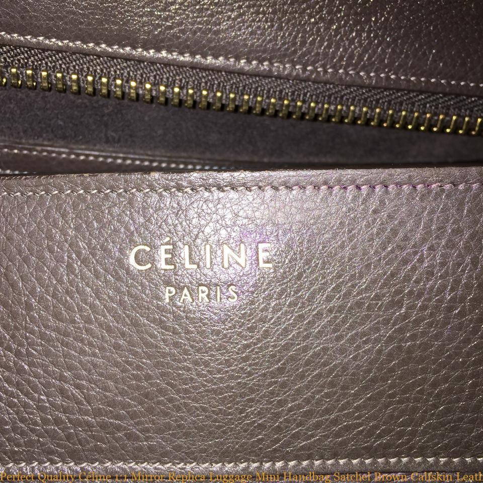 e6c184e8a53a Perfect Quality Céline 1 1 Mirror Replica Luggage Mini Handbag Satchel Brown  Calfskin Leather Tote celine replica bag sale